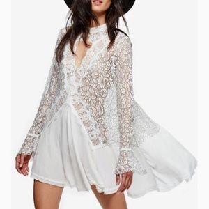 FREE PEOPLE Tell Tale Lace Mini Dress, Longsleeve